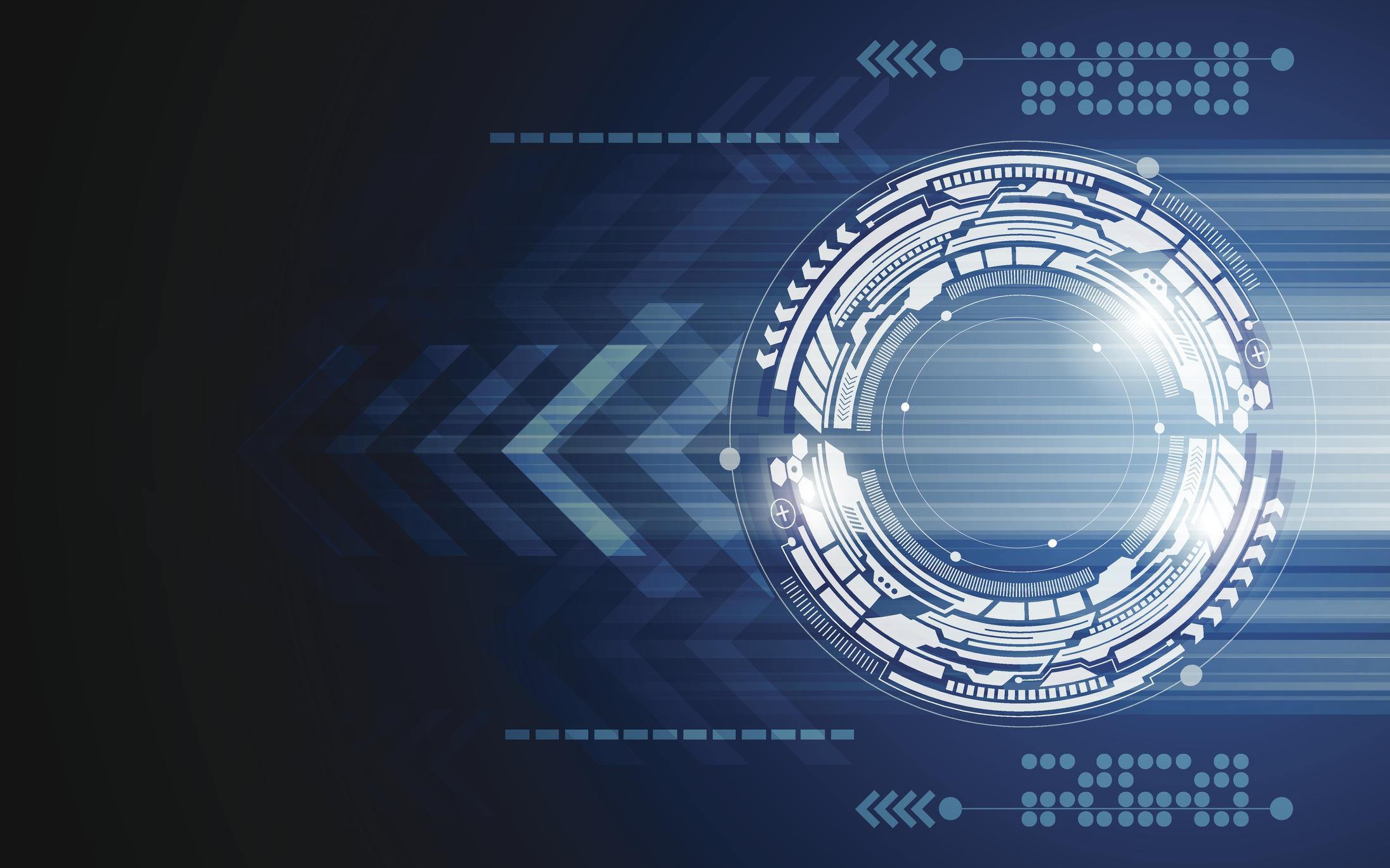 Frecce e cerchio di movimento, tecnologia e innovazione