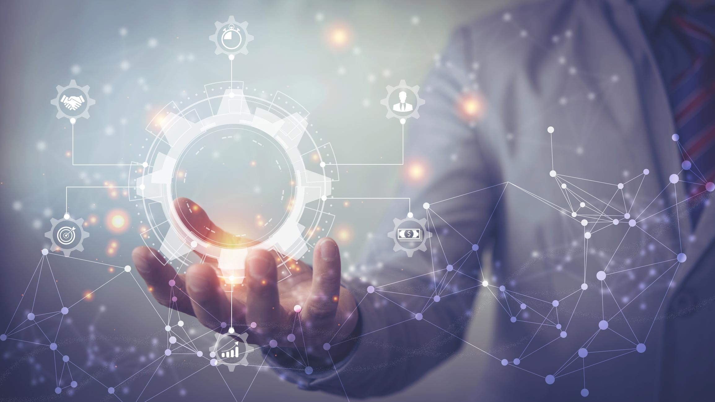 Manager toccando l'interfaccia di gestione dei processi aziendali e diagramma di automazione del flusso di lavoro con ingranaggi e icone con rete di connessione in background